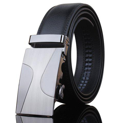 Stylish Automatic Metal Buckle Men's Black Wide Belt - BLACK