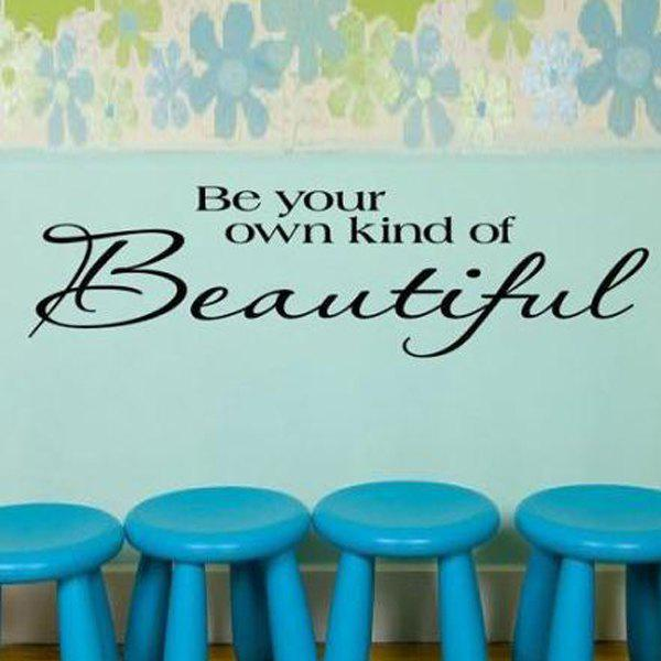 Fashion English Proverbs Pattern Home Decor Removeable Wall Stickers - BLACK