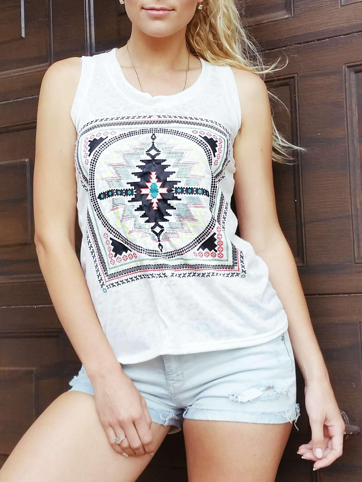 Ethnic Loose-Fitting Scoop Neck Geometric Top For Women