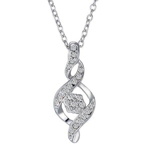 Vintage Rhinestoned Flower Spiral Shape Pendant Necklace For Women - SILVER