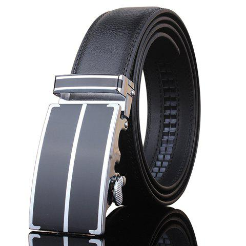 Stylish Stripe Shape Embellished Buckle Men's Black Wide Belt - BLACK