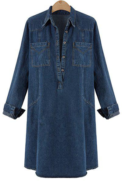 Stylish Women's Turn-Down Collar Buttoned Denim Dress - DEEP BLUE XL