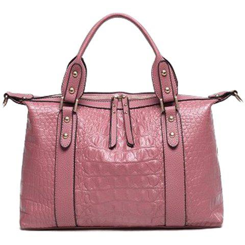 Trendy Crocodile Print and PU Leather Design Tote Bag For Women -  PINK
