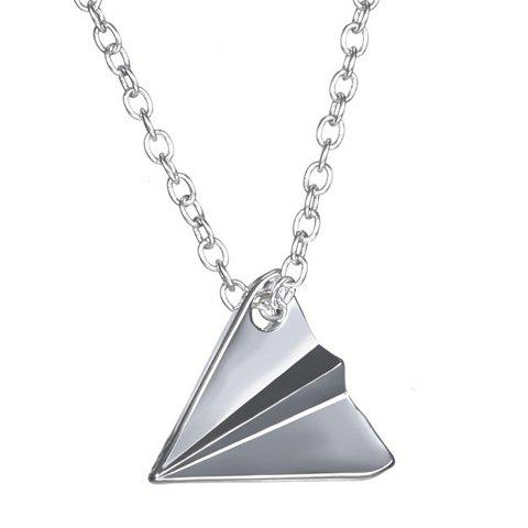Vintage Paper Plane Shape Pendant Necklace For Women - SILVER