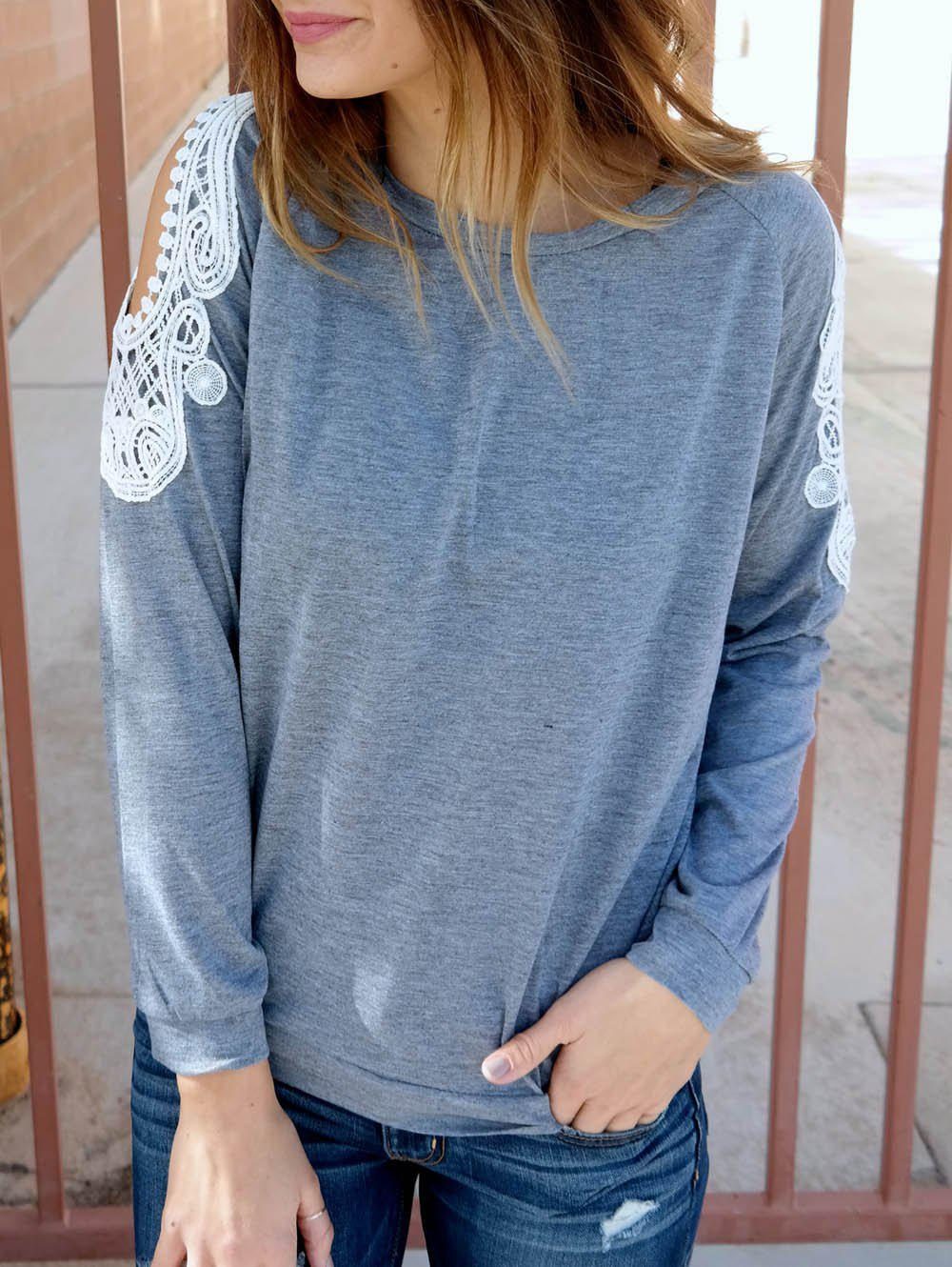 Couper Chic Scoop Collar manches longues Sweat Out Lace Spliced ​​femmes - Gris M