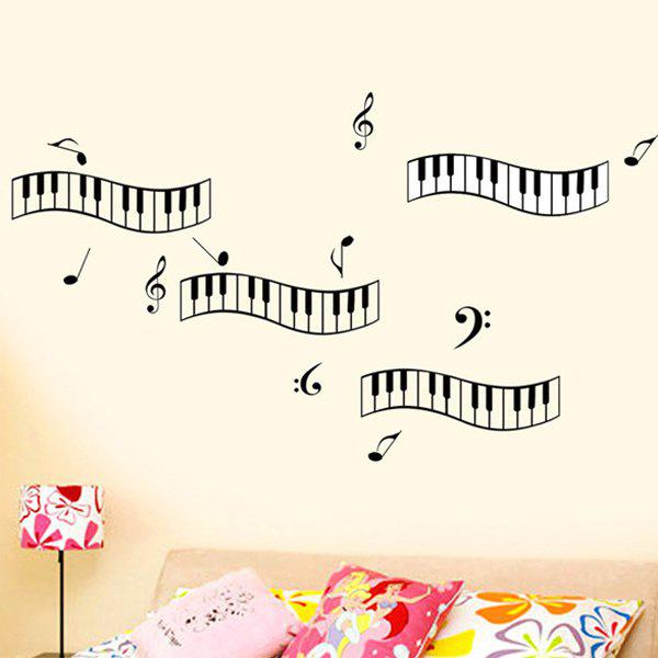 Stylish Piano Keyboard Notes Pattern Removeable Wall Stickers - BLACK