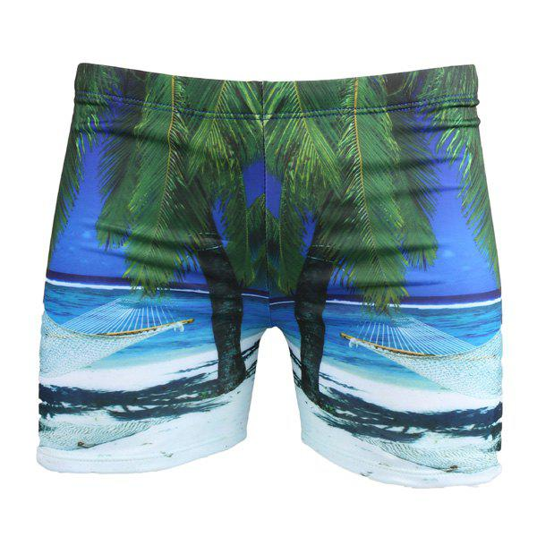 Vogue Elastic Waist 3D Seabeach Tree Print Men's Boxer Swimming Trunks - BLUE XL