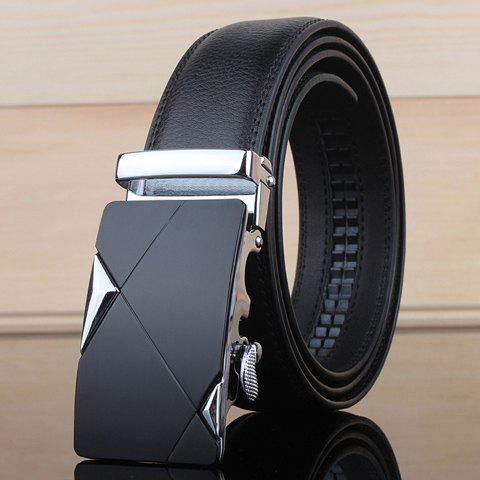Stylish Two Triangles Shape Embellished Metal Buckle Men's Wide Belt - SILVER