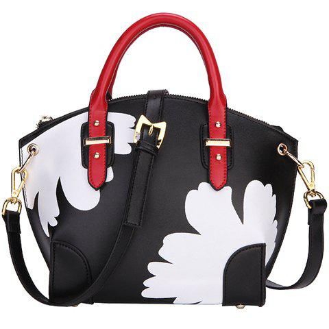 Trendy Flower Print and Color Matching Design Women's Tote Bag - BLACK