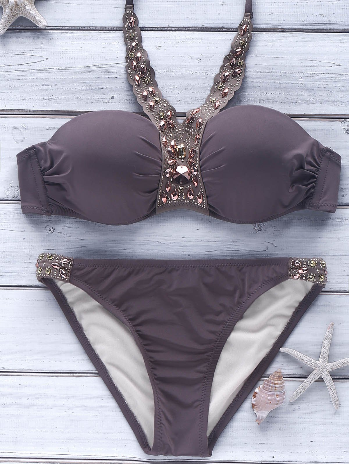 Trendy Halter Beaded Backless Push-Up Women's Bikini Set - LIGHT COFFEE L