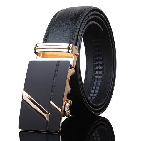 Stylish Golden Stripy Embellished Metal Automatic Buckle Men's Black Wide Belt