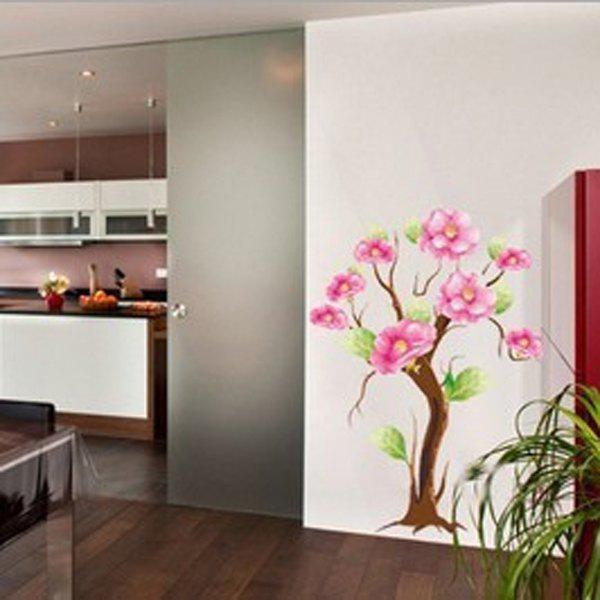 Fashionable Floral Pattern Home Decor Removeable Wall Stickers - COLORMIX