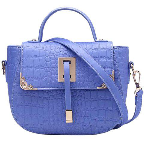 Leisure Embossing and Solid Color Design Women's Tote Bag - BLUE