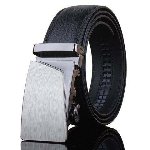 Stylish Irregular Trapezoid Bulge Automatic Buckle Men's Black Wide Belt - BLACK