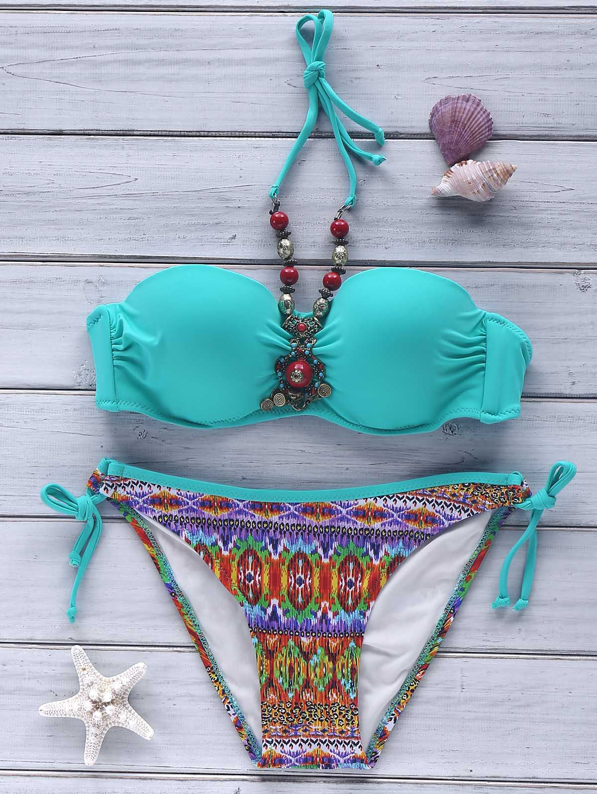 Ethnic Style Halter Push-Up Printed Beaded Women's Bikini Set