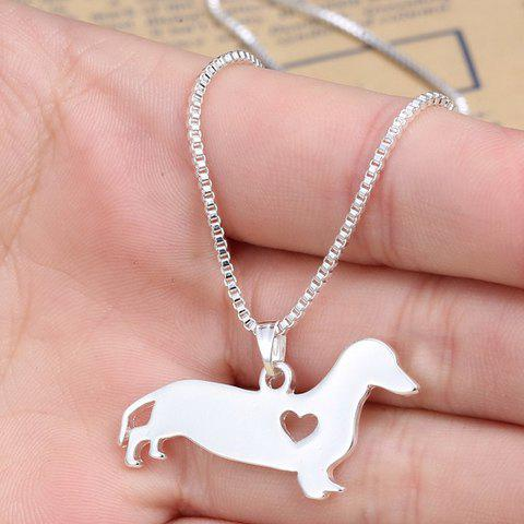 Simple Heart Cartoon Dachshund Dog Shape Pendant Necklace For Men - SILVER
