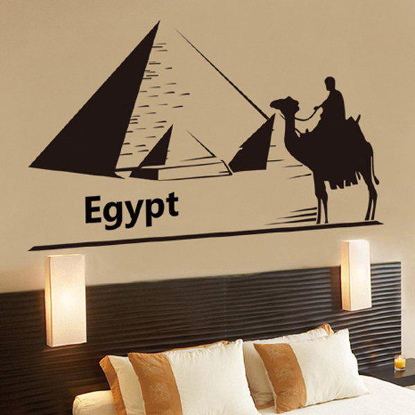 Creative Egypt Pyramid and Camel Pattern Removeable Wall Stickers - BLACK