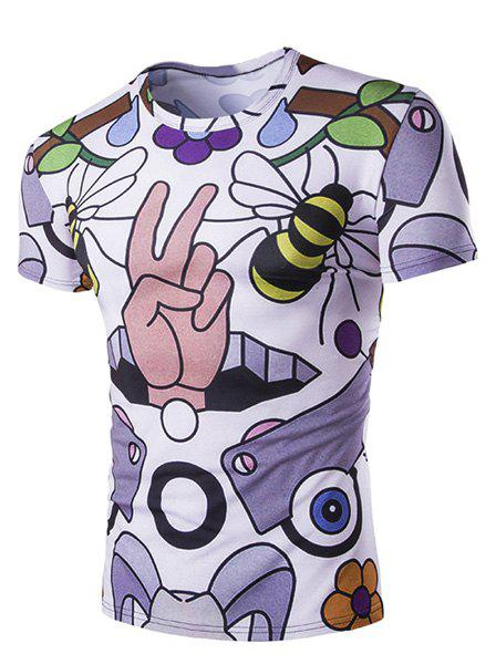 Slimming Bee Printed Round Neck T-Shirt For Men - COLORMIX M