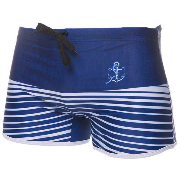 Anchor Stripes Print Hit Color Lace-Up Men's Boxer Swimming Trunks