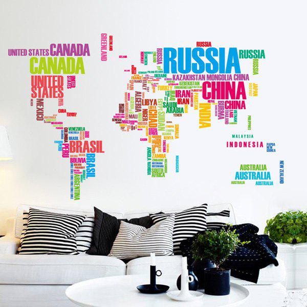 Stylish Colorful Letter World Map Pattern Wall Stickers For Bedroom Livingroom Decoration
