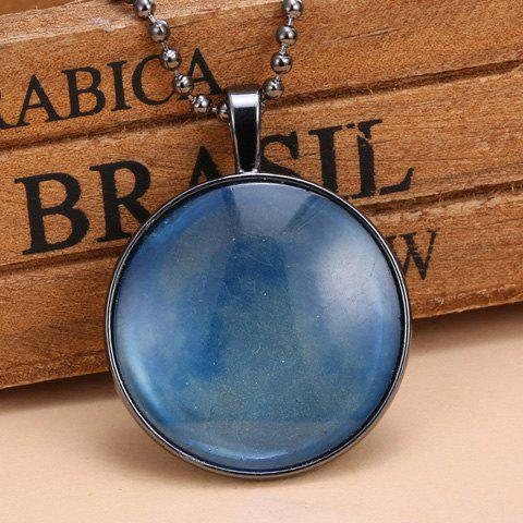 Cloud Sky Pattern Faux Gem Noctilucence Pendant Necklace - BLUE