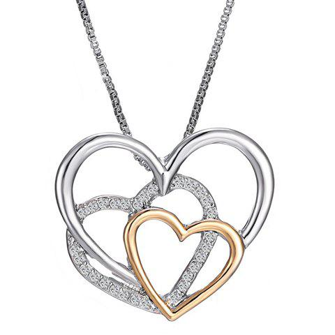 Rhinestoned Multilayer Heart Shape Pendant Necklace - COLORMIX