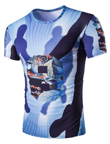 Slimming Shadow Printed Round Neck T-Shirt For Men - BLUE L