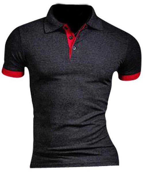 Slimming Splicing Design Turn Down Collar T-Shirt For Men - DEEP GRAY M