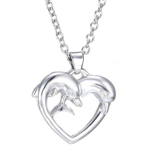 Dolphin Heart Shape Pendant Necklace - SILVER