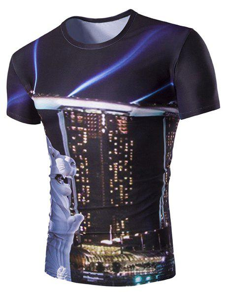 Slimming Building Printed Round Neck T-Shirt For Men