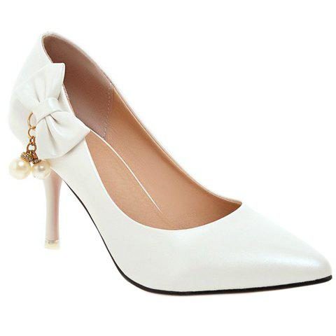 Graceful Bow and Faux Pearls Design Women's Pumps - WHITE 34