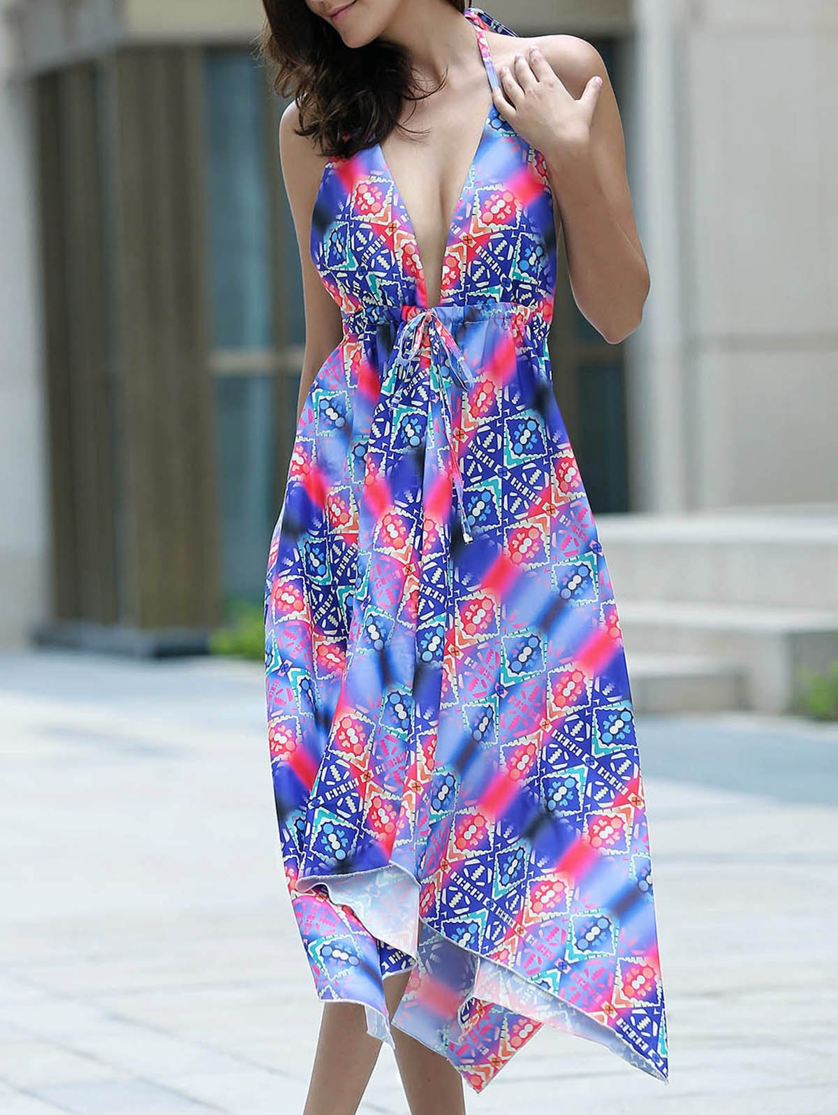 Trendy Halter Printed Backless Asymmetrical Women's Dress - COLORMIX ONE SIZE(FIT SIZE XS TO M)
