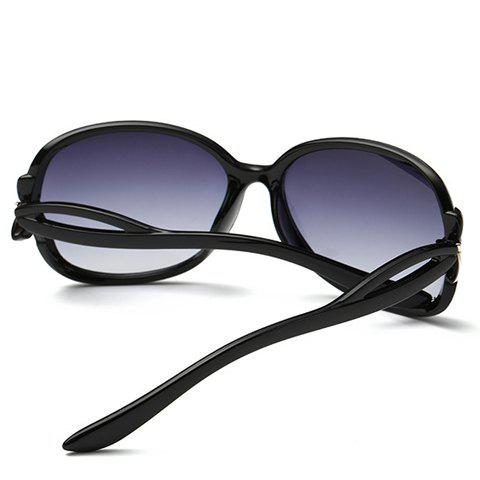 Chic Small Bow Embellished Hollow Out Leg Women's Sunglasses - BLACK