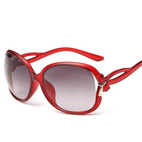 Chic Small Bow Embellished Hollow Out Leg Women's Sunglasses - WINE RED