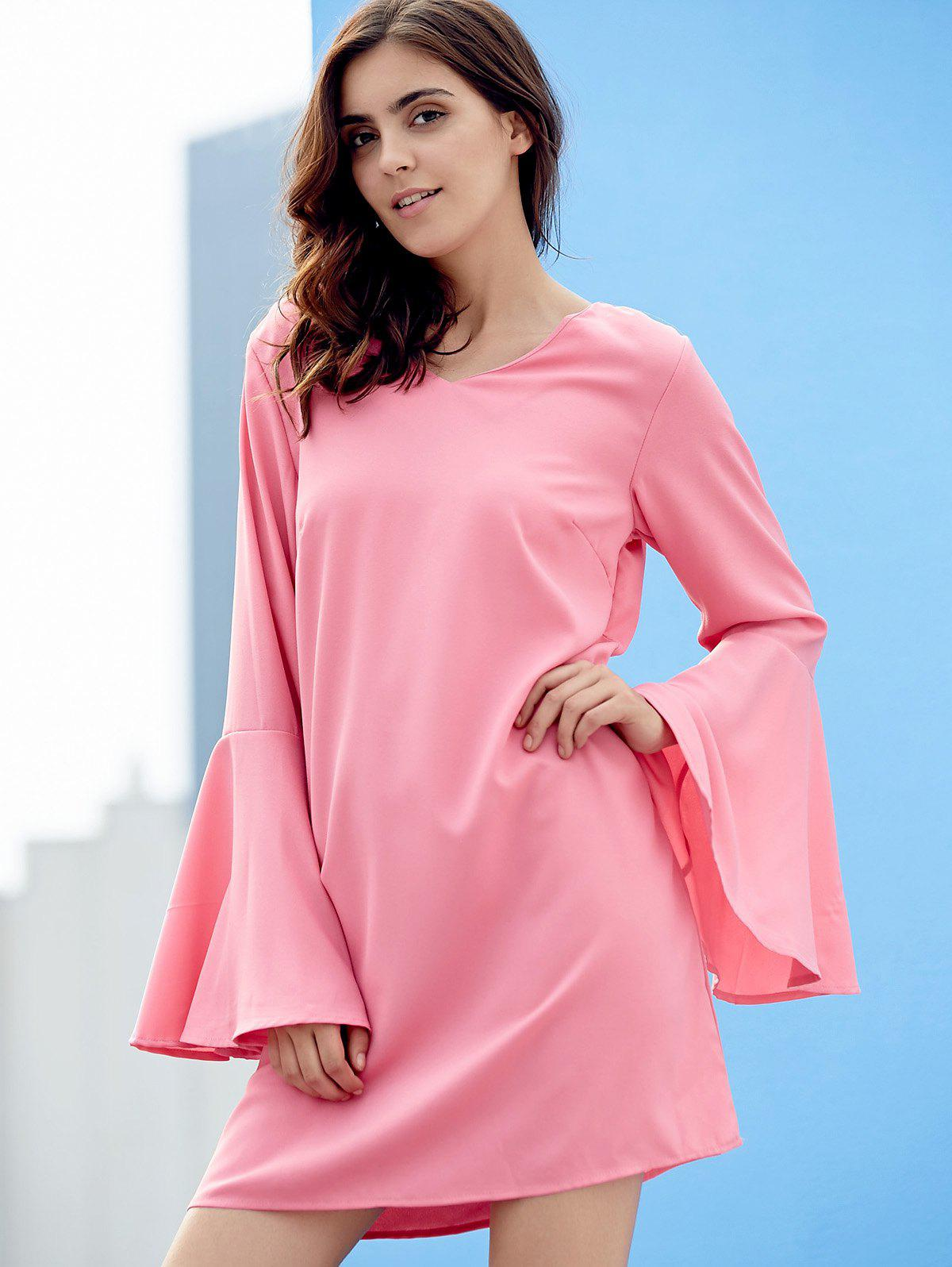 Chic Long Flare Sleeve V Neck Pure Color Women's Dress - PINK M
