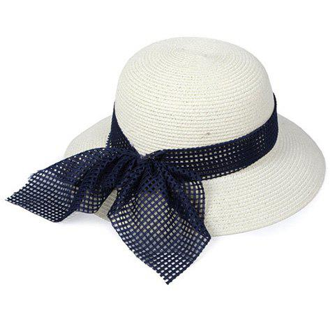 Elegant Mesh Bowknot Decorated Straw Hat For Women - OFF WHITE