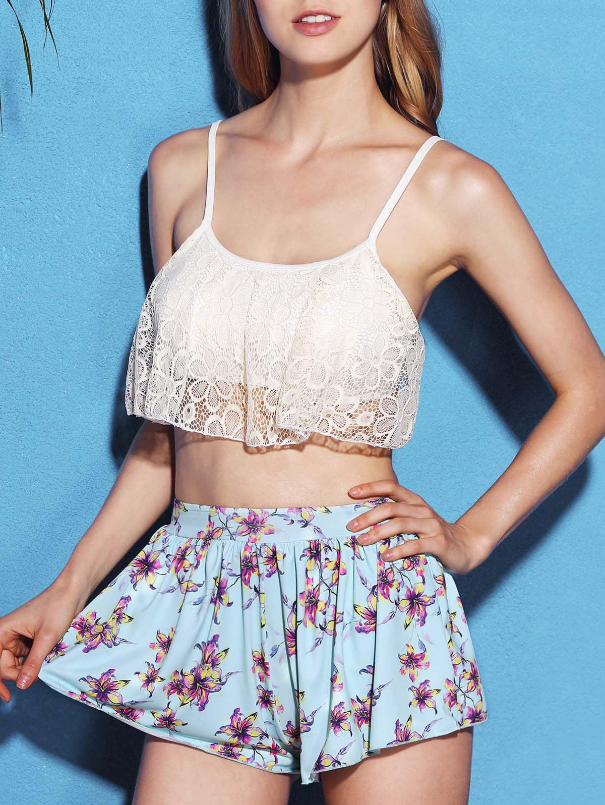 Chic Lace Spliced Bikini and Flower Shape Boxers Three-Piece Swimwear For WomenWomen<br><br><br>Size: L<br>Color: WHITE