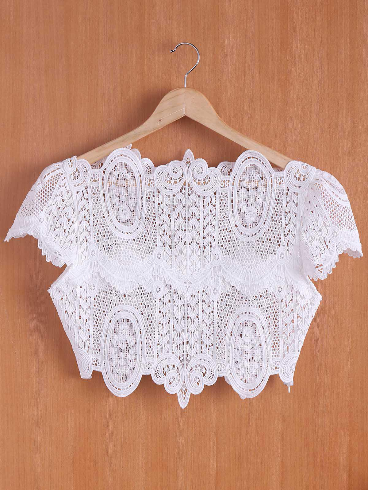 Chic Women's Stand Collar White Hollow Out Short Sleeve Crop Top - WHITE S