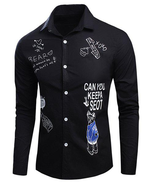 Casual Shirt Collar Funny Letters Cartoon Print Long Sleeves Men's Slim Fit Shirt - BLACK M