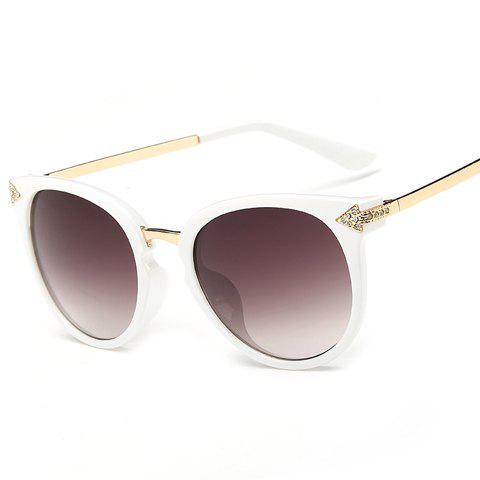 Chic Rhinestone and Arrow Shape Inlay Embellished Women's Sunglasses - WHITE