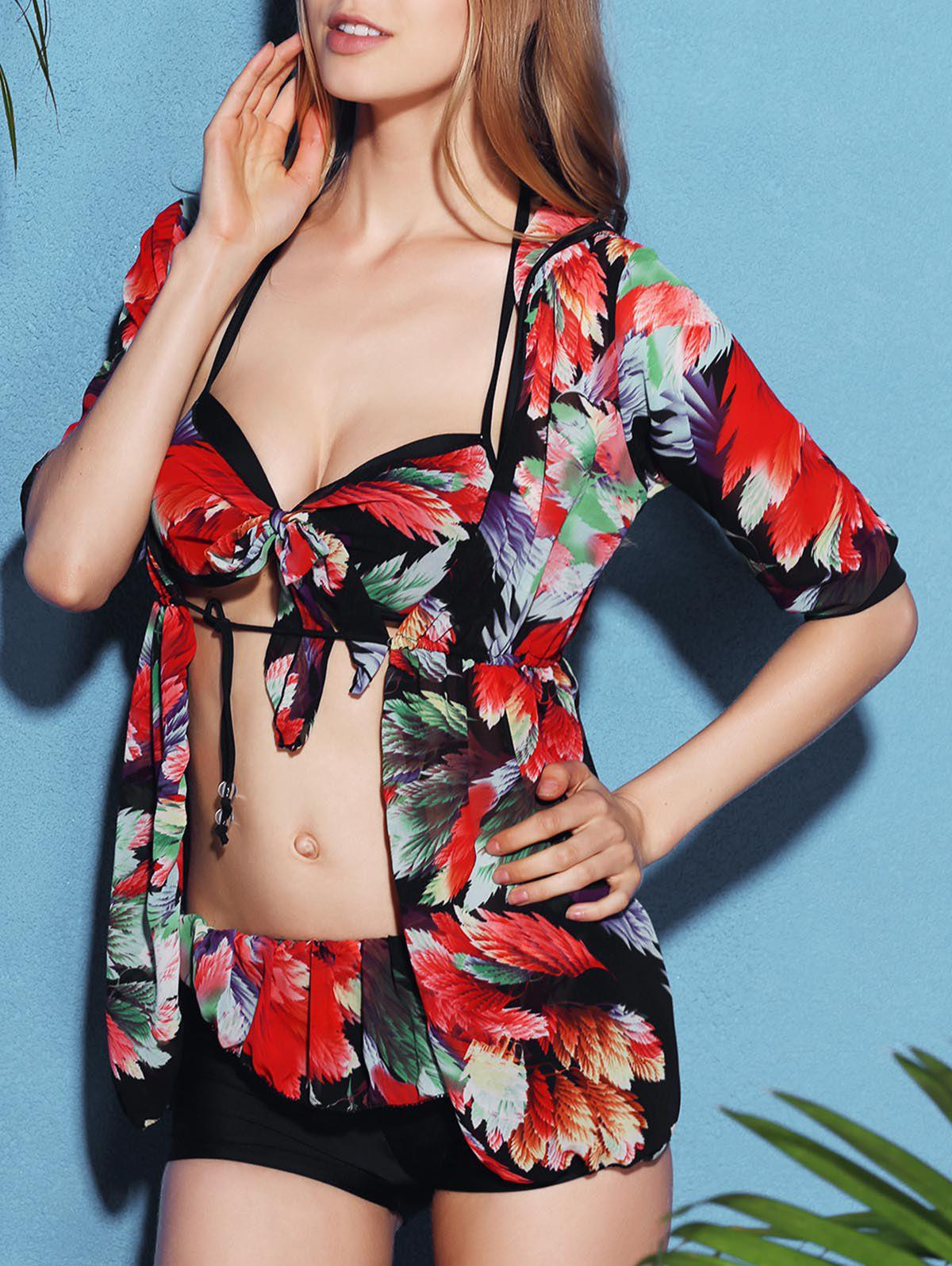 Chic Flower Print Bikini and High Waist Dress Three-Piece Swimwear For Women
