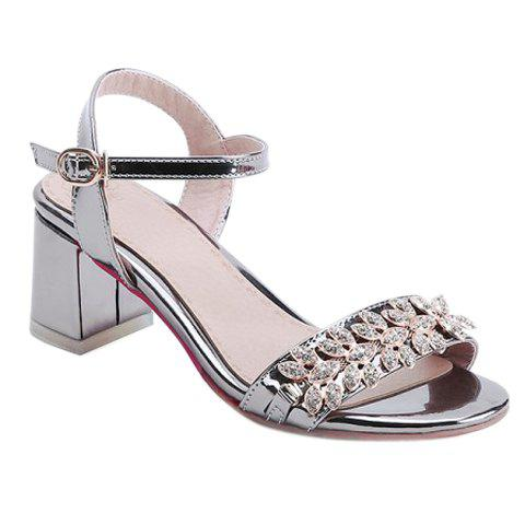 Fashionable Chunky Heel and Rhinestones Design Women's Sandals - GUN METAL 39