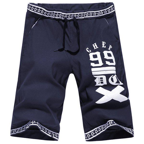Casual Straight Leg Letters Five-Pointed Star Print Men's Lace-Up Short - CADETBLUE L
