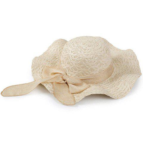 Elegant Bowknot Decorated Wavy Edge Beach Straw Hat For Women - BEIGE