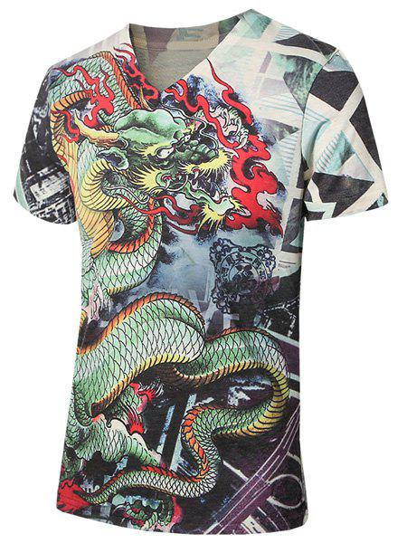 Plus Size V-Neck 3D Dragon Print Short Sleeve Men's T-Shirt - COLORMIX L