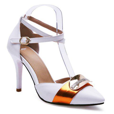 Stylish Colour Matching and Metal Design Women's Pumps - WHITE 38