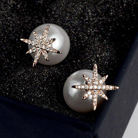 Pair of Charming Faux Pearl Snowflake Earrings For Women