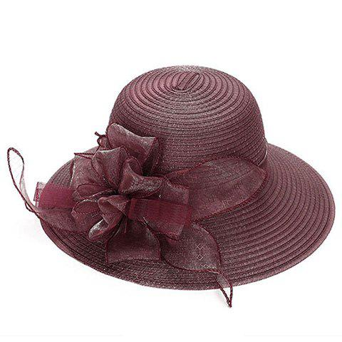 Elegant Gauze Flower Decorated Solid Color Beach Straw Hat For Women - WINE RED