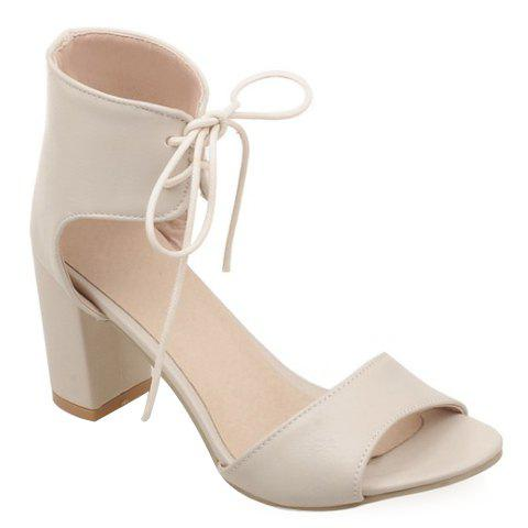 Trendy Lace-Up and Chunky Heel Design Women's Sandals - OFF WHITE 37