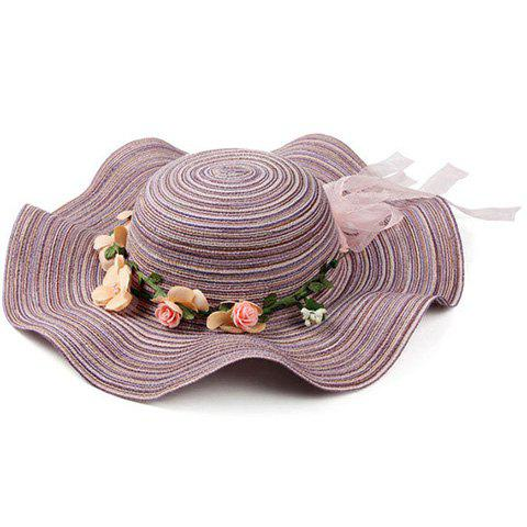 Elegant Stripe Pattern Bowknot Flower Decorated Beach Straw Hat For Women - PURPLE